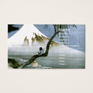 北斎 Boy & Mt Fuji Fine Art Business Card