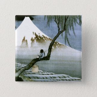 北斎 Boy & Mt Fuji Fine Art Pinback Button