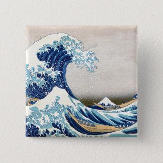 北斎 Great Wave Off Kanagawa Hokusai Fine Art Button