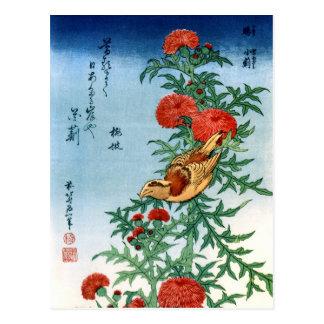 北斎 Hokusai Bird & Flowers Fine Art Postcard