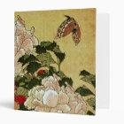 北斎 Hokusai Peonies & Butterflies Fine Art 3 Ring Binder