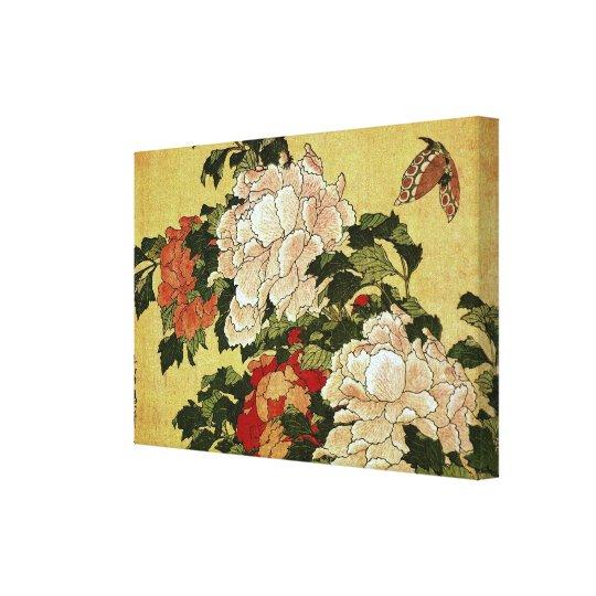 北斎 Hokusai Peonies & Butterflies Fine Art Canvas Print