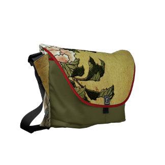 北斎 Hokusai Peonies & Butterflies Fine Art Courier Bag