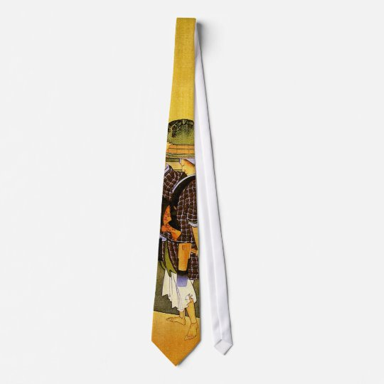 北斎 Rice Fields Hokusai Fine Art Neck Tie