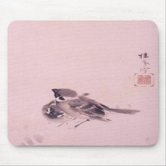 双雀, par del gorrión, Seihō, arte japonés del 栖鳳 Alfombrilla De Raton