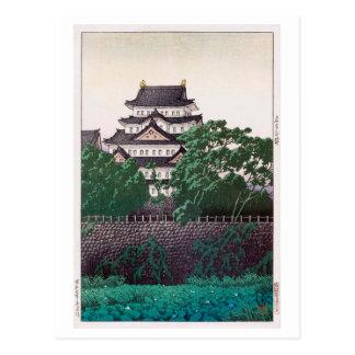 名古屋城, 川瀬巴水 Nagoya Castle, Hasui Kawase, Woodcut Postcard
