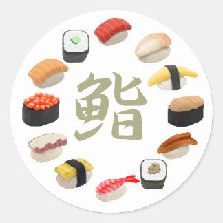 回転寿司 del sushi y del kanji pegatinas redondas