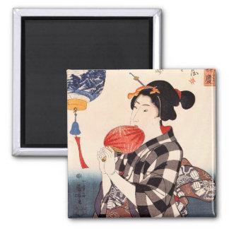 団扇を持つ女, mujer con una fan redonda, Kuniyoshi del 国 Imán