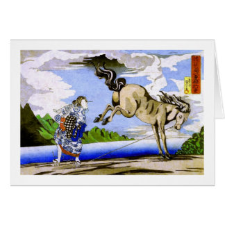 國芳 Woman & Horse Kuniyoshi Fine Art Card