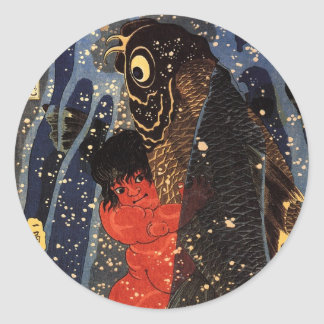 坂田金時と巨鯉, 国芳, Sakata Kintoki & Huge Carp, Kuniyoshi Classic Round Sticker