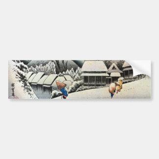 夜の雪景色, escena de la nieve de la noche del 広重, Hiro Pegatina Para Auto