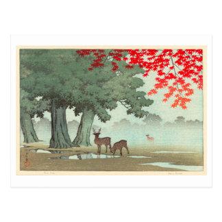 奈良公園の鹿, Deer of Nara Park, Hasui Kawase, Woodcut Postcard