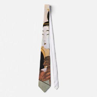 女と犬, 歌麿 Woman and Dog, Utamaro, Ukiyoe Neck Tie