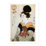 女と犬, 歌麿 Woman and Dog, Utamaro, Ukiyoe Postcard