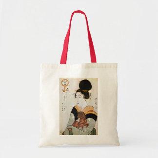 女と犬, 歌麿 Woman and Dog, Utamaro, Ukiyoe Tote Bag