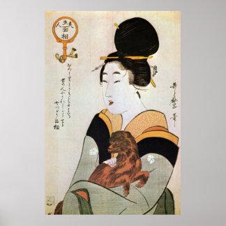 女と犬, mujer y perro, Utamaro, Ukiyoe del 歌麿 Posters