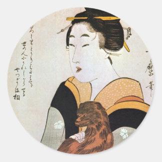 女と犬, mujer y perro, Utamaro, Ukiyoe del 歌麿 Etiqueta Redonda
