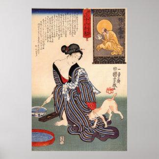 女と猫, mujer y gato, Kuniyoshi, Ukiyo-e del 国芳 Impresiones