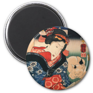 女と眠る猫, 国芳 Woman and Sleeping Cat, Kuniyoshi Magnet