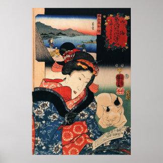 女と眠る猫, mujer y gato el dormir, Kuniyoshi del 国芳 Póster