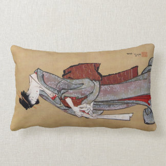 女, 北斎 Woman, Hokusai, Ukiyo-e Lumbar Pillow