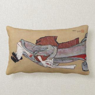 女, 北斎 Woman, Hokusai, Ukiyo-e Throw Pillow