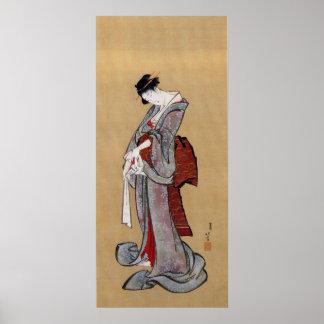 女, 北斎 Woman, Hokusai, Ukiyo-e Poster