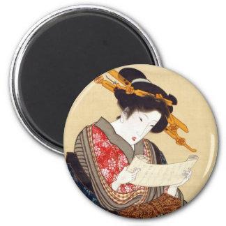 女, 国貞 Woman, Kunisada, Ukiyo-e 2 Inch Round Magnet