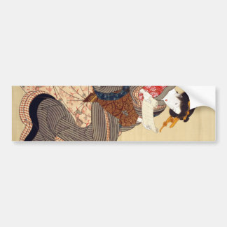 女, 国貞 Woman, Kunisada, Ukiyo-e Car Bumper Sticker