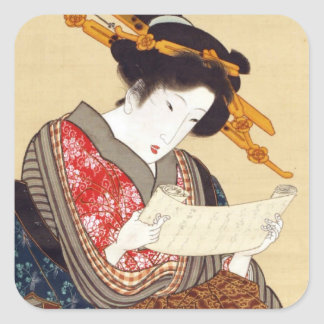 女, 国貞 Woman, Kunisada, Ukiyo-e Square Sticker