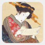 女, mujer del 国貞, Kunisada, Ukiyo-e Pegatina Cuadrada