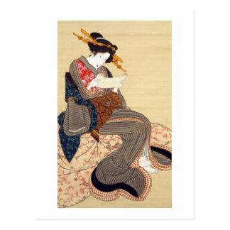 女 mujer del 国貞 Kunisada Ukiyo-e Postal