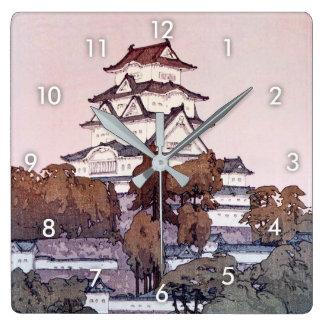 姫路城, Himeji Castle, Hiroshi Yoshida, Woodcut Square Wall Clock