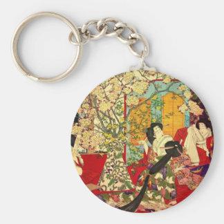 宦 woman cherry tree mat verse no figure basic round button keychain