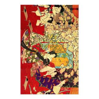 宦 woman cherry tree mat verse no figure stationery