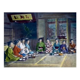 家族 teñido mano japonesa tradicional de la comida tarjetas postales