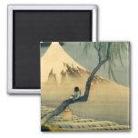 富士と少年, 北斎 el monte Fuji y muchacho, Hokusai, Ukiyo Imán Cuadrado
