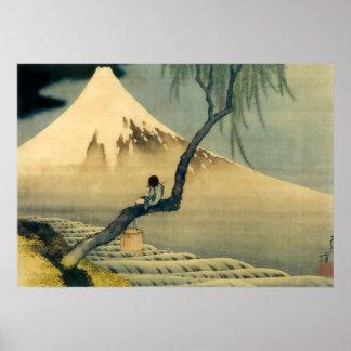富士と少年, 北斎 el monte Fuji y muchacho, Hokusai, Ukiyo Póster