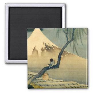 富士と少年, 北斎 Mount Fuji and Boy, Hokusai, Ukiyo-e 2 Inch Square Magnet