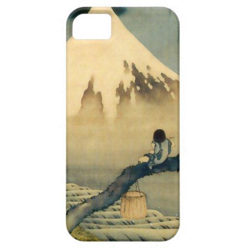 富士と少年, 北斎 Mount Fuji and Boy, Hokusai, Ukiyo-e iPhone 5 Cover