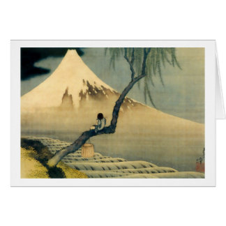 富士と少年, 北斎 Mount Fuji and Boy, Hokusai, Ukiyo-e Greeting Card