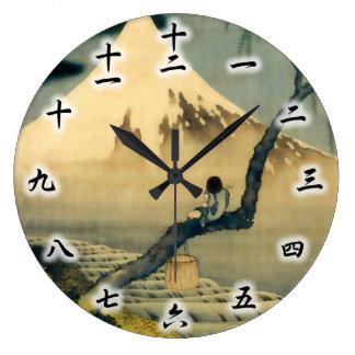 富士と少年, 北斎 Mount Fuji and Boy, Hokusai, Ukiyo-e Large Clock