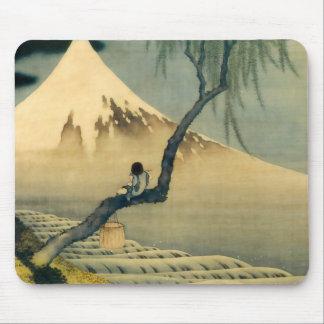 富士と少年, 北斎 Mount Fuji and Boy, Hokusai, Ukiyo-e Mouse Pad