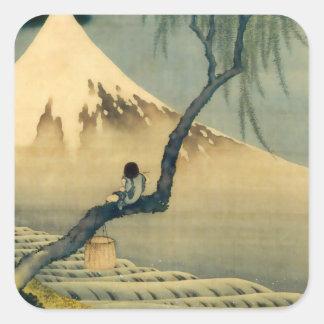 富士と少年, 北斎 Mount Fuji and Boy, Hokusai, Ukiyo-e Square Sticker
