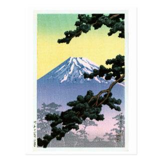 富士山, Mount Fuji, Hasui Kawase, Woodcut Postcard