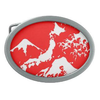 富士山 Mount Fuji Japan Red Print Artistic Oval Belt Buckles