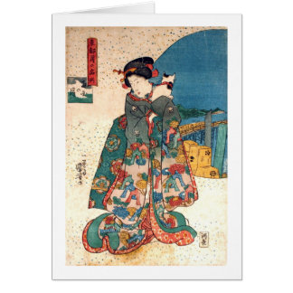 少女と猫, 国芳 Girl with Cat, Kuniyoshi, Ukiyo-e Card