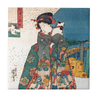 少女と猫, 国芳 Girl with Cat, Kuniyoshi, Ukiyo-e Ceramic Tile