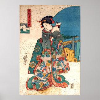 少女と猫, 国芳 Girl with Cat, Kuniyoshi, Ukiyo-e Print