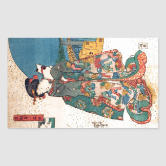 少女と猫, 国芳 Girl with Cat, Kuniyoshi, Ukiyo-e Rectangular Sticker